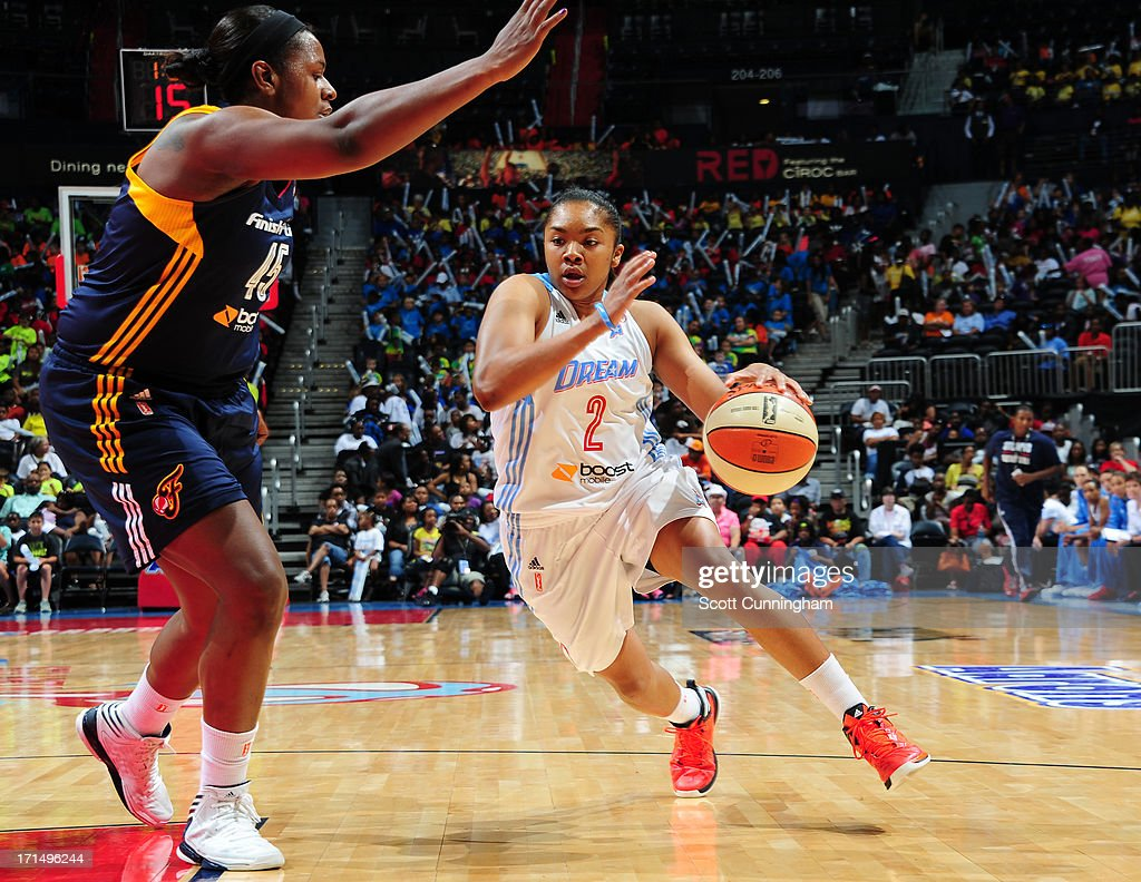 Alex Bentley #2 of the Atlanta Dream drives against the Indiana Fever at Philips Arena on June 25, 2013 in Atlanta, Georgia.