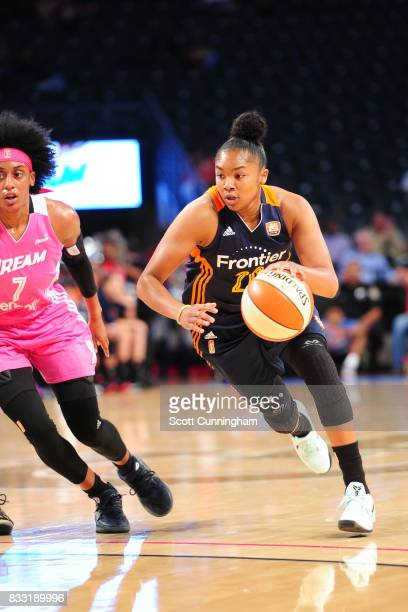 Alex Bentley of the Connecticut Sun drives to the basket against the Atlanta Dream during at WNBA game on August 15 2017 at Hank McCamish Pavilion in...