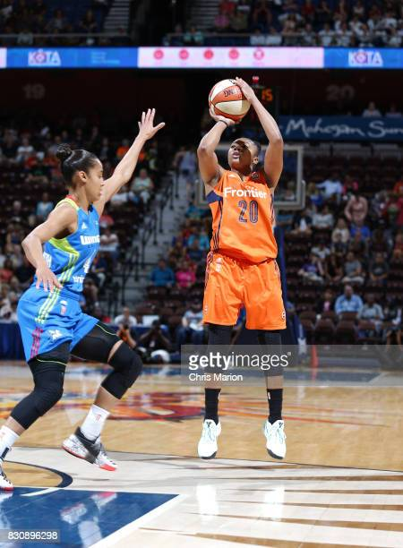 Alex Bentley of the Connecticut Sun passes the ball against the Dallas Wings on August 12 2017 at Mohegan Sun Arena in Uncasville CT NOTE TO USER...