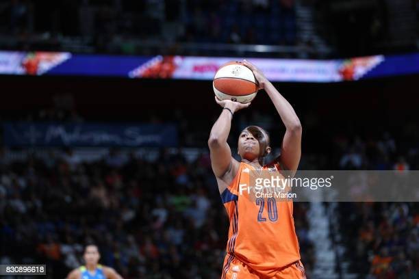 Alex Bentley of the Connecticut Sun shoots a free throw against the Dallas Wings on August 12 2017 at Mohegan Sun Arena in Uncasville CT NOTE TO USER...