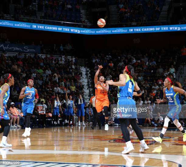 Alex Bentley of the Connecticut Sun shoots the ball against the Dallas Wings on August 12 2017 at Mohegan Sun Arena in Uncasville CT NOTE TO USER...