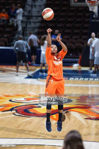 Alex Bentley of the Connecticut Sun warms up before the game against the Dallas Wings on August 12 2017 at Mohegan Sun Arena in Uncasville CT NOTE TO...
