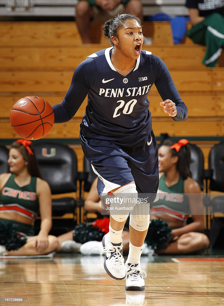 Alex Bentley #20 of the Penn State Lady Lions brings the ball up-court against the Miami Hurricanes on November 29, 2012 at the BankUnited Center in Coral Gables, Florida. Miami defeated Penn State 69-65.