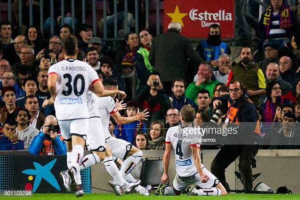 Alex Bergantinos of RC Deportivo La Coruna celebrates after scoring his team's second goal during the La Liga match between FC Barcelona and RC...