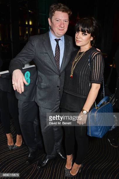 Alex Bilmes editor of Esquire and Lily Allen attend a party hosted by EE and Esquire at The Savoy Hotel ahead of the 2014 EE British Academy Film...