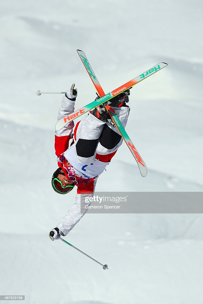 Alex Bilodeau of Canada practices during the Men's and Ladies Moguls official training session ahead of the the Sochi 2014 Winter Olympics at Rosa Khutor Extreme Park on February 7, 2014 in Sochi, Russia.