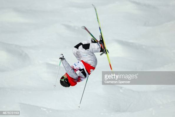 Alex Bilodeau of Canada practices during the Men's and Ladies Moguls official training session ahead of the the Sochi 2014 Winter Olympics at Rosa...
