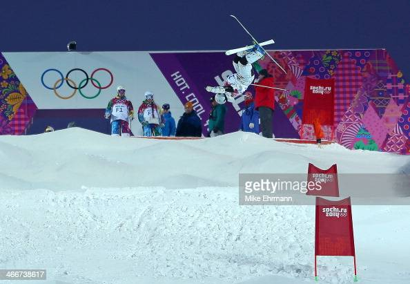 Alex Bilodeau of Canada practices during training for the Moguls Competition at the Extreme Park at Rosa Khutor Mountain on February 3 2014 in Sochi...