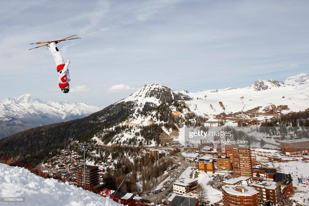 Alex Bilodeau of Canada takes first place during the FIS Freestyle Ski World Cup Men's and Women's Dual Moguls on March 21, 2014 in La Plagne, France.