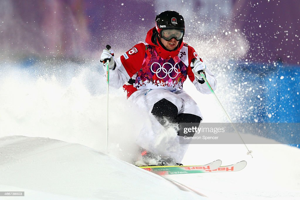 Alex Bilodeau of Canada trains during moguls practice at the Extreme Park at Rosa Khutor Mountain ahead of the Sochi 2014 Winter Olympics on February...