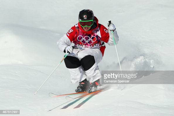 Alex Bilodeau of Canada trains during the Men's and Ladies Moguls official training session ahead of the the Sochi 2014 Winter Olympics at Rosa...
