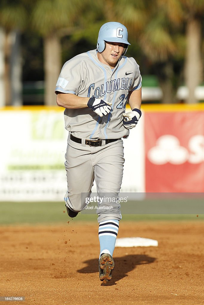 Alex Black #27 of the Columbia Lions rounds the bases after hitting a solo home run against the Miami Hurricanes in the second inning on March 19, 2013 at Alex Rodriguez Park at Mark Light Field in Coral Gables, Florida. Miami defeated Columbia 9-6.