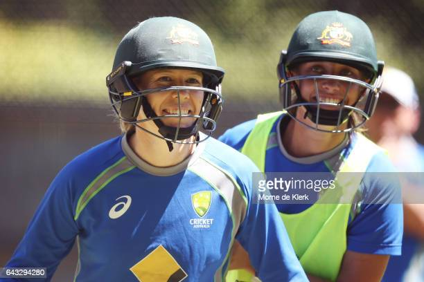 Alex Blackwell and Ashleigh Gardner of Australia take part in a training drill during a Southern Stars training session at Adelaide Oval on February...