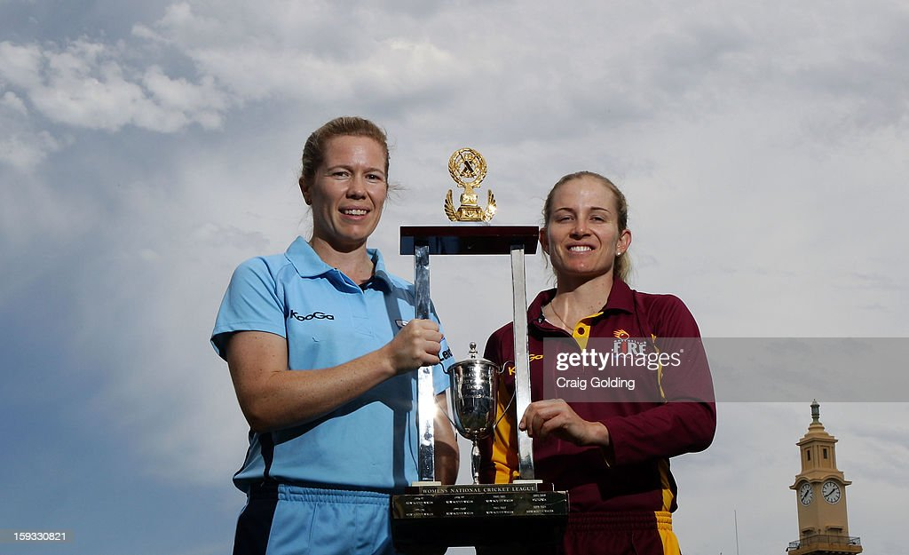 Alex Blackwell, captain of NSW, and Jodie Fields, captain of Queensland ,pose with the trophy ahead of tomorrow's WNCL one day final between the NSW Breakers and the Queensland Fire, at the Sydney Cricket Ground on January 12, 2013 in Sydney, Australia.