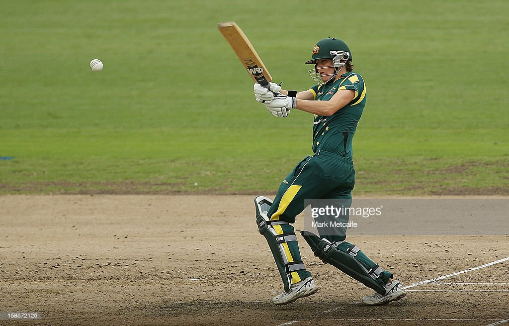 Alex Blackwell of Australia bats during game four of the one day international series between the Australian Southern Stars and New Zealand at North Sydney Oval on December 19, 2012 in Sydney, Australia.