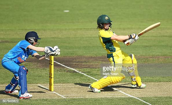 Alex Blackwell of Australia bats during game one of the Women's ODI series between Australia and India at Manuka Oval on February 2 2016 in Canberra...