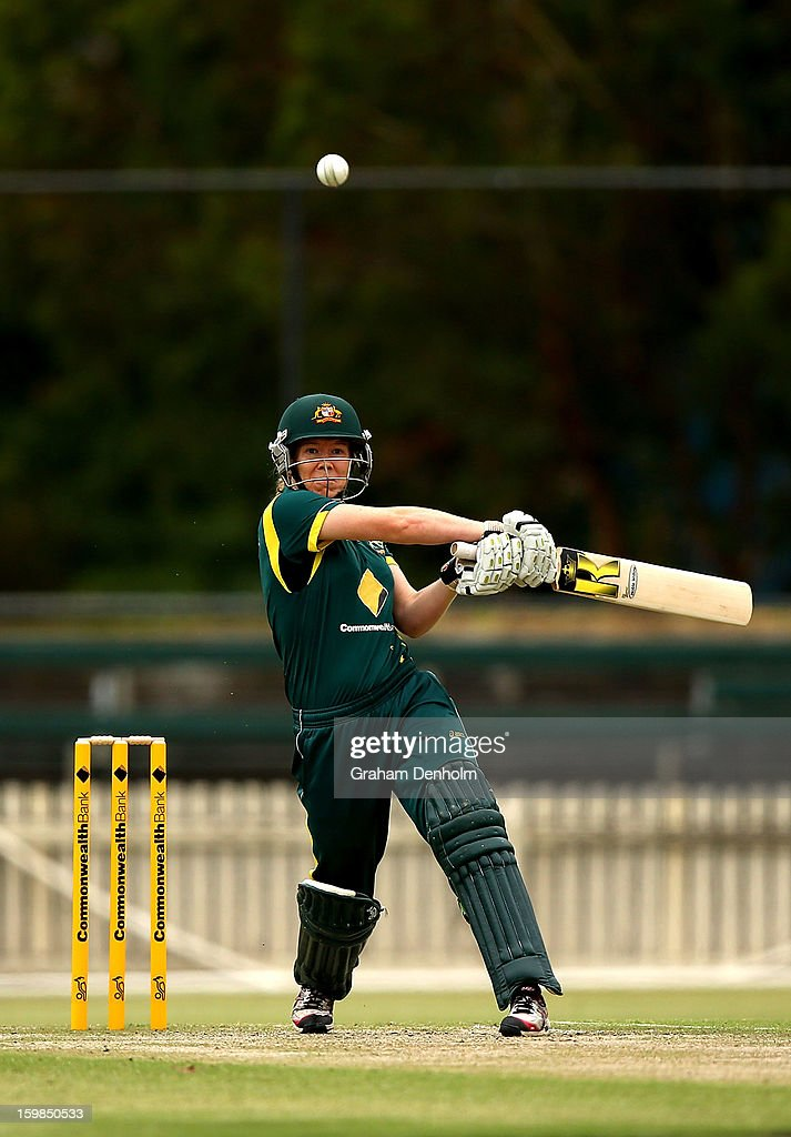 Alex Blackwell of Australia bats during the Women's International Twenty20 match between the Australian Southern Stars and New Zealand at Junction Oval on January 22, 2013 in Melbourne, Australia.