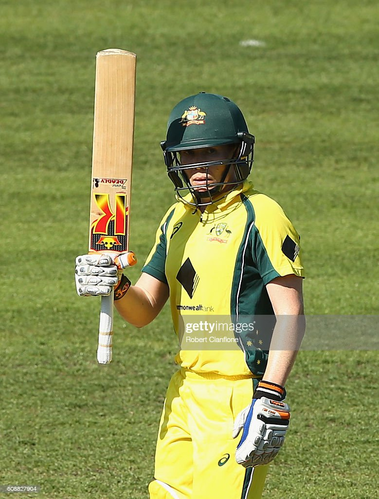 <a gi-track='captionPersonalityLinkClicked' href=/galleries/search?phrase=Alex+Blackwell&family=editorial&specificpeople=198941 ng-click='$event.stopPropagation()'>Alex Blackwell</a> of Australia celebrates after reaching her half century during game three of the one day international series between Australia and India at Blundstone Arena on February 7, 2016 in Hobart, Australia.