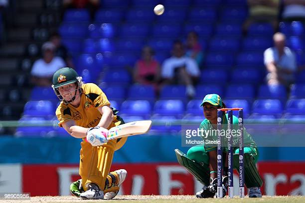 Alex Blackwell of Australia hits out during the ICC T20 Women's World Cup Group A match between Australia and South Africa at Warner Park on May 7...