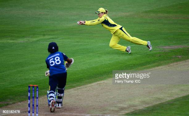 Alex Blackwell of Australia makes a stop during the ICC Women's World Cup 2017 match between Sri Lanka and Australia on June 29 2017 in Bristol...