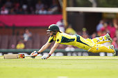 Alex Blackwell of Australia slides in to avoid a runout during the International Twenty20 match between Australia and India at Sydney Cricket Ground...