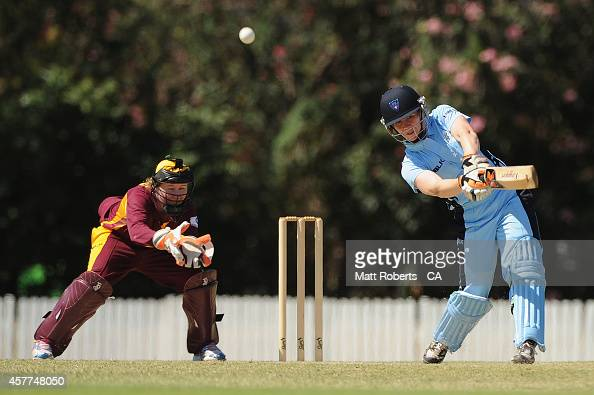 Alex Blackwell of New South Wales bats during the women's T20 match between Queensland and New South Wales at Allan Border Field on October 24 2014...