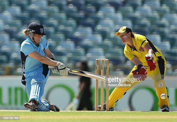 Alex Blackwell of the Breakers bats during the women's Twenty20 final match between the NSW Breakers and the Western Australia Fury at the WACA on...
