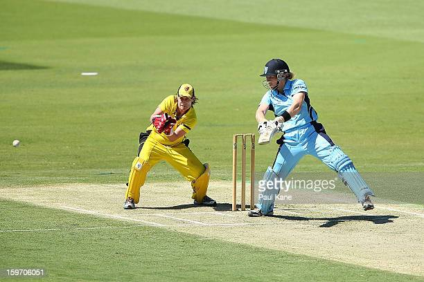 Alex Blackwell of the Breakers bats during the women's Twenty20 final match between the NSW Breakers and the Western Australia Fury at WACA on...