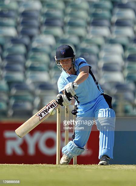 Alex Blackwell of the Breakers bats during the Women's Twenty20 match between the West Australia Fury and the New South Wales Breakers at WACA on...