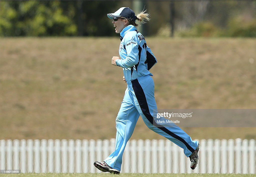 Alex Blackwell of the Breakers celebrates taking a catch to dismiss Belinda Page of the Roar during the women's Twenty20 match between the New South Wales Breakers and the Tasmania Roar at Blacktown International Sportspark on December 9, 2012 in Sydney, Australia.