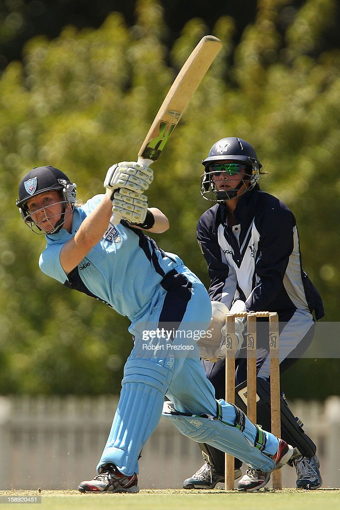 Alex Blackwell of the Breakers plays a shot during the Women's Twenty20 match between the Victoria Spirit and the New South Wales Breakers at Junction Oval on January 4, 2013 in Melbourne, Australia.
