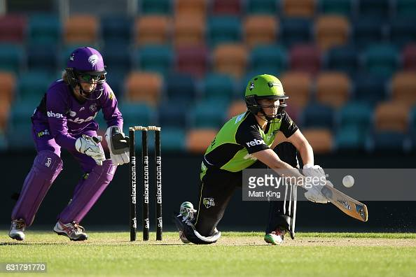 Alex Blackwell of the Thunder bats during the Women's Big Bash League match between the Hobart Hurricanes and the Sydney Thunder at Blundstone Arena...