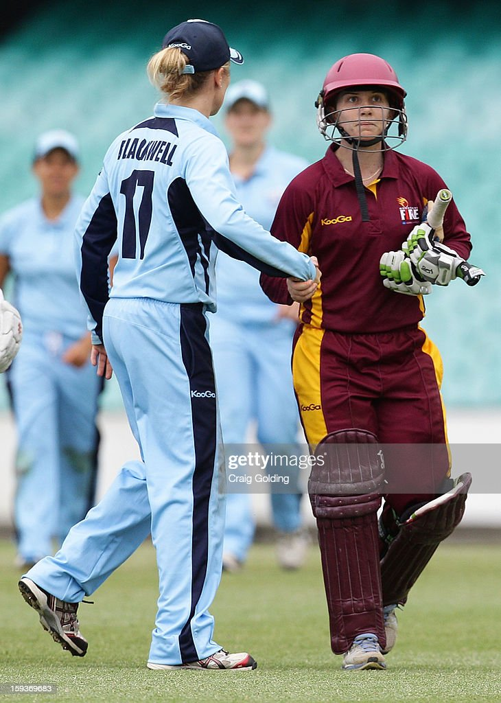 Alex Blackwell shakes hands with century maker Jodie Fields at the end of the Fire innings during the WNCL Final match between the NSW Breakers and the Queensland Fire at the Sydney Cricket Ground on January 13, 2013 in Sydney, Australia.