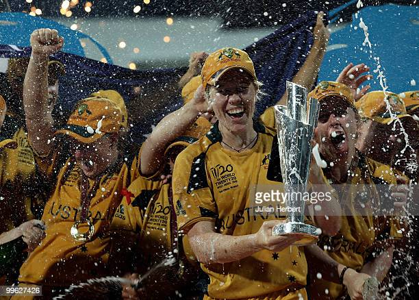 Alex Blackwell the captain of Australia is showered with champagne after her teams victory in the ICC Womens World Twenty20 Final between Australia...