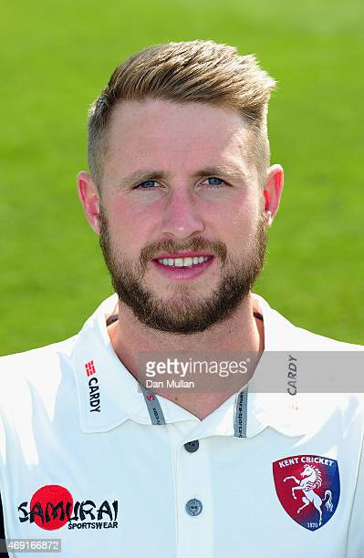Alex Blake of Kent poses during the Kent CCC Photocall on April 10 2015 in Canterbury England