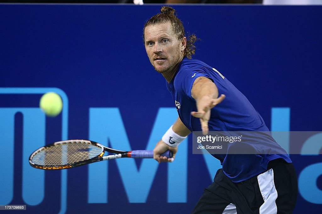 <a gi-track='captionPersonalityLinkClicked' href=/galleries/search?phrase=Alex+Bogomolov+Jr.&family=editorial&specificpeople=234870 ng-click='$event.stopPropagation()'>Alex Bogomolov Jr.</a> of the Texas Wild plays a forehand as the Texas Wild compete against the Orange County Breakers on July 16, 2013 in Newport Beach, California.