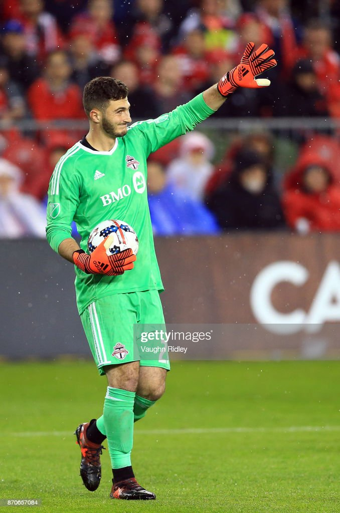 Alex Bono #25 of Toronto FC signals to teammates during the second half of the MLS Eastern Conference Semifinal, Leg 2 game against New York Red Bulls at BMO Field on November 5, 2017 in Toronto, Ontario, Canada.