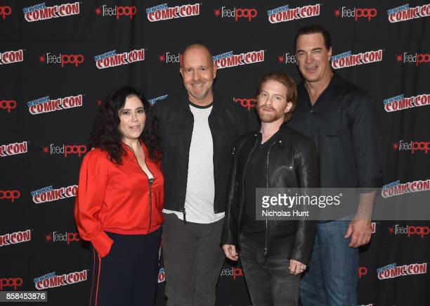 Alex Borstein Mike Henry Seth Green and Patrick Warburton attend The Family Guy panel during 2017 New York Comic Con on October 6 2017 in New York...