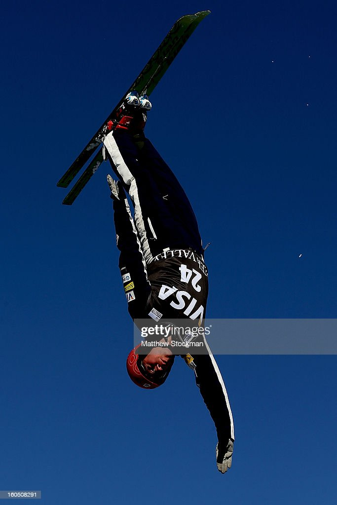Alex Bowen #24 jumps while training for the Mens Aerials during the Visa Freestyle International at Deer Valley on February 1, 2013 in Park City, Utah.