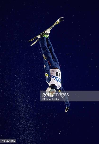 Alex Bowen of the USA competes in the men's aerials final during the 2015 FIS Freestyle Ski World Cup at Deer Valley on January 8 2015 in Park City...