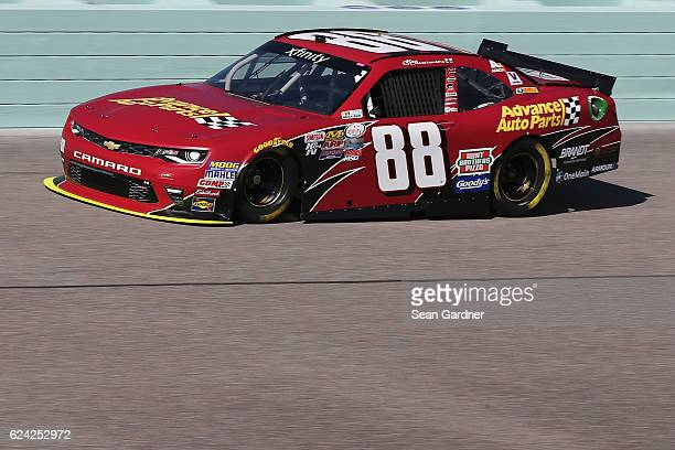 Alex Bowman driver of the Advance Auto Parts Chevrolet practices for the NASCAR XFINITY Series Ford EcoBoost 300 at HomesteadMiami Speedway on...