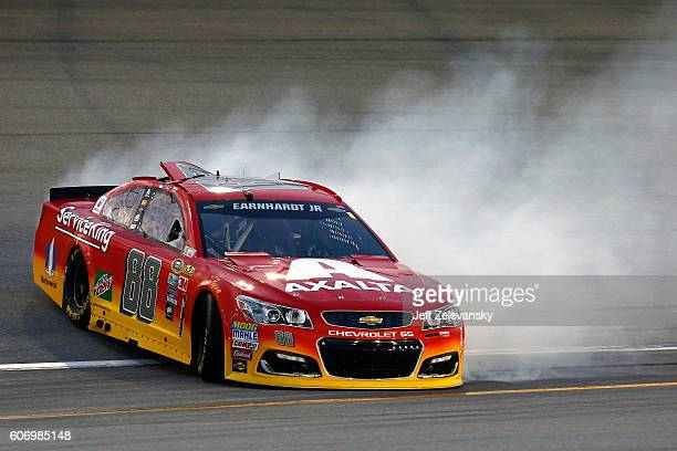 Alex Bowman driver of the Axalta Chevrolet has an on track incident during practice for the NASCAR Sprint Cup Series Teenage Mutant Ninja Turtles 400...