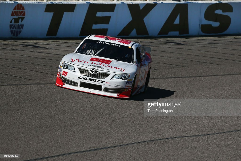 Alex Bowman, driver of the #99 Microsoft Windows Toyota, practices for the NASCAR Nationwide Series O'Reilly Auto Parts Challenge at Texas Motor Speedway on November 1, 2013 in Fort Worth, Texas.