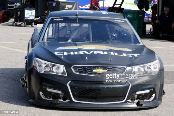 Alex Bowman's car in the garage with all the visible telemetry during NASCAR Monster Energy Cup Series testing on May 31 at New Hampshire Motor...
