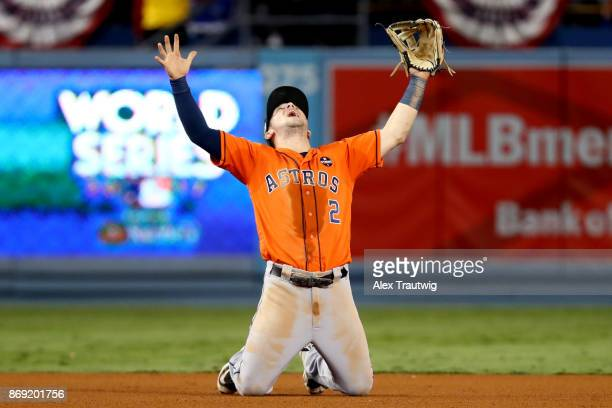 Alex Bregman of the Houston Astros celebrates after the Astros defeated the Los Angeles Dodgers in Game 7 of the 2017 World Series at Dodger Stadium...