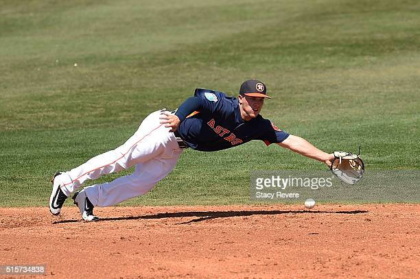 Alex Bregman of the Houston Astros dives for a ground ball during the third inning of a spring training game against the Washington Nationals at...