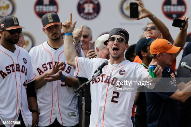 Alex Bregman of the Houston Astros is introduced during the Houston Astros Victory Parade on November 3 2017 in Houston Texas The Astros defeated the...