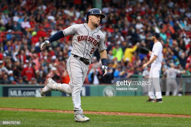 Alex Bregman of the Houston Astros runs the bases after hitting a solo home run in the eighth inning against the Boston Red Sox during game four of...