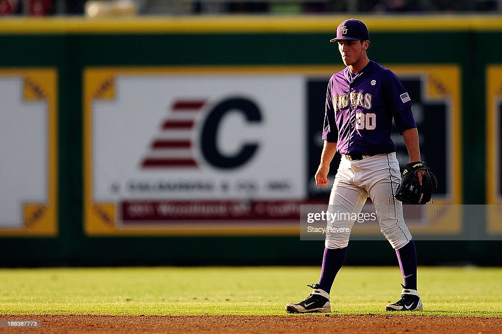Alex Bregman #30 of the LSU Tigers anticipates a play during a game against the Florida Gators at Alex Box Stadium on May 3, 2013 in Baton Rouge, Louisiana.