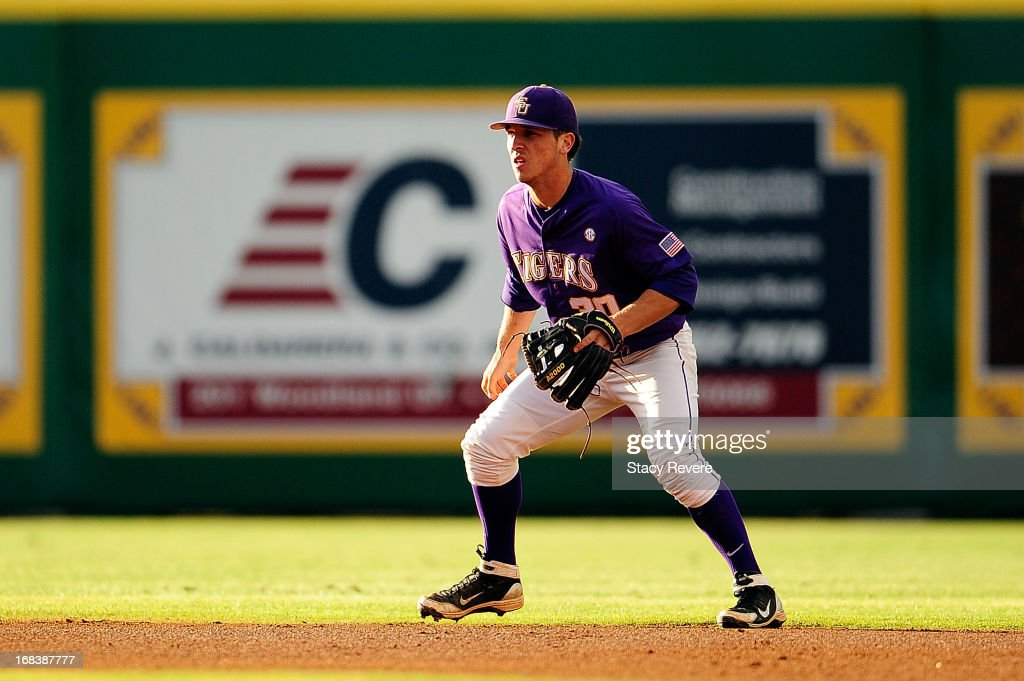 <a gi-track='captionPersonalityLinkClicked' href=/galleries/search?phrase=Alex+Bregman+-+Baseball+Player&family=editorial&specificpeople=10891415 ng-click='$event.stopPropagation()'>Alex Bregman</a> #30 of the LSU Tigers anticipates a play during a game against the Florida Gators at Alex Box Stadium on May 3, 2013 in Baton Rouge, Louisiana.